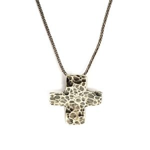 Silpada Retired Sterling Hammered Cross Necklace